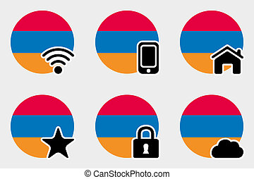 Web Icon Set with the Flag of Armenia
