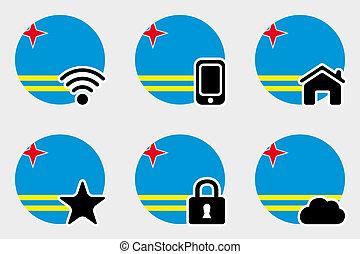 Web Icon Set with the Flag of Aruba