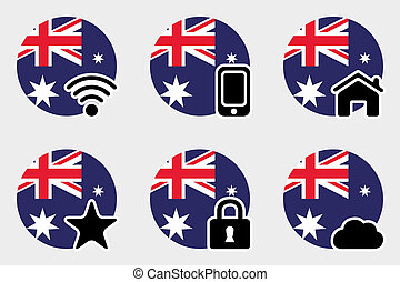 Web Icon Set with the Flag of Australia