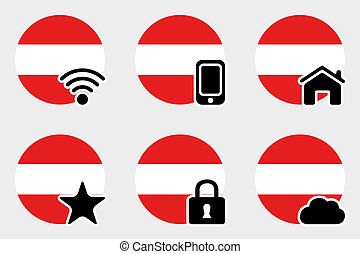 Web Icon Set with the Flag of Austria