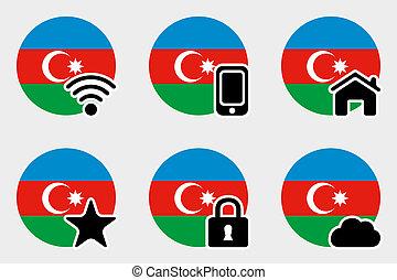 Web Icon Set with the Flag of Azerbaijan