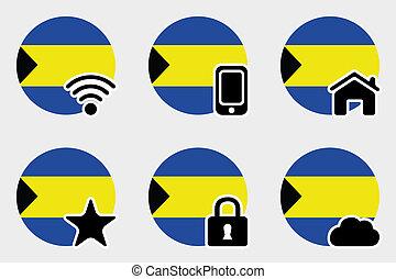 Web Icon Set with the Flag of Bahamas