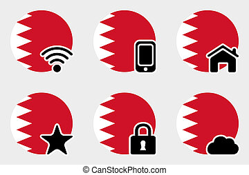 Web Icon Set with the Flag of Bahrain