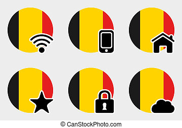 Web Icon Set with the Flag of Belgium