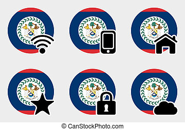 Web Icon Set with the Flag of Belize