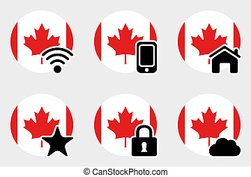 Web Icon Set with the Flag of Canada