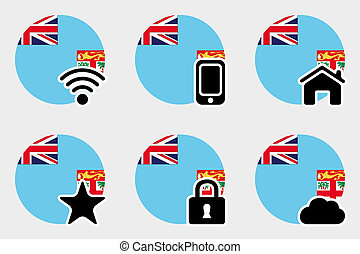 Web Icon Set with the Flag of Fiji