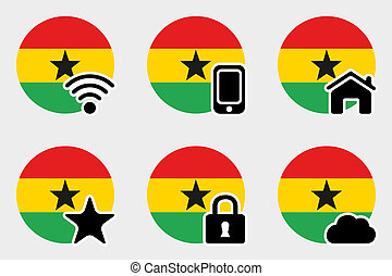 Web Icon Set with the Flag of Ghana - A Web Icon Set with ...