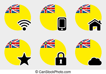Web Icon Set with the Flag of Niue