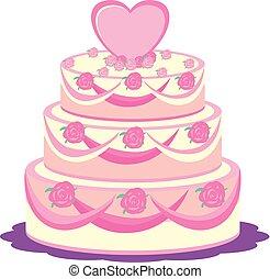A wedding cake on white background