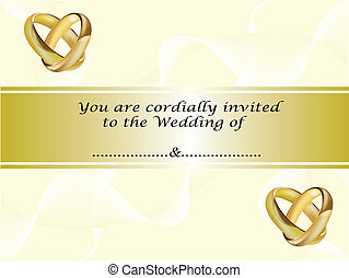 A wedding invitation card with gold rings - A wedding...