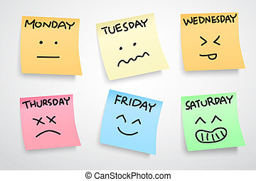 multiple color stickers, displaying day of week and face expression on each separate color, isolated on white background