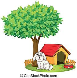a, weißes, junger hund, neben, a, hundehütte, unter, a, großer baum