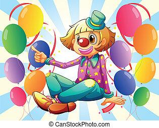 a, weibliche , clown, mit, farbenprächtige luftballons