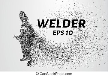 A welder from particles. The silhouette of a welder consists of circles and points. Vector illustration
