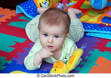 a, wenig, baby, spielen spielzeugen