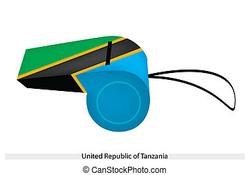 An Illustration of Green, Yellow, Black and Blue Stripe of The United Republic of Tanzania Flag on A Whistle, The Sport Concept and Political Symbol.