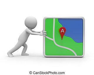navigator - A white 3d person pushing a navigator
