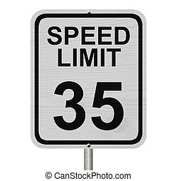 Speed Limit 35 Sign - A white American road sign with words ...