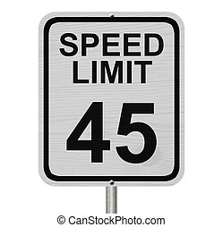 Speed Limit 45 Sign - A white American road sign with words...