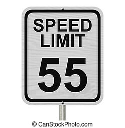 Speed Limit 55 Sign - A white American road sign with words ...