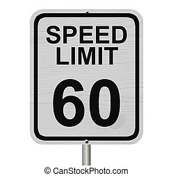 Speed Limit 60 Sign - A white American road sign with words...