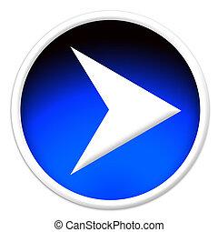A white arrow pointer glassy button