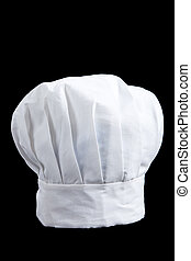 A white baker\'s toque on a black background