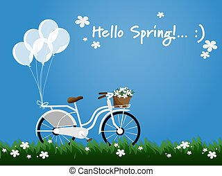 A white bicycle with balloons and wicker basket full of spring flowers in white color viewed from the side and Hello Spring text in blue sky background.