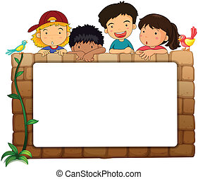 A white board, kids and birds - Illustration of a white ...