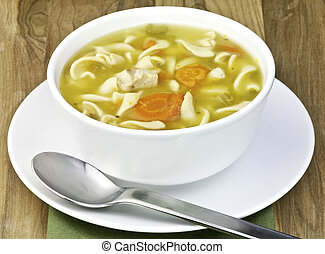 chicken noodle soup - a white bowl filled with homemade...