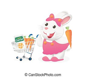 white bunny with carrot in a cart