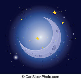 A white crescent in the sky - Illustration of a white...