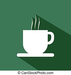A white cup of coffee with steam an