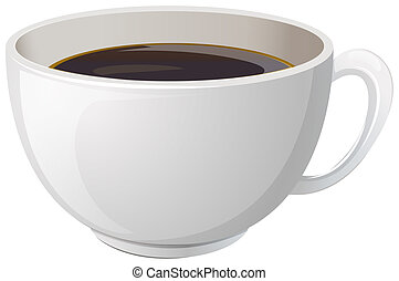 Illustration of a white cup with coffee on a white background