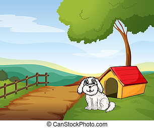 A white dog sitting in front of a dog house