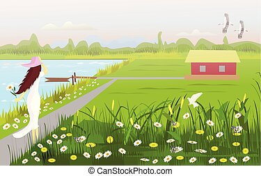 A white dress woman wearing a hat on walkway, There is a house in the middle of a field, with a flower garden, a waterfront with a small boat, with forests and mountains as the background.