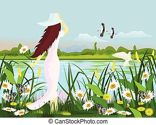 A white dress woman wearing a hat, standing at the edge of a swamp with flowers, butterfly, birds with forests and mountains as a background