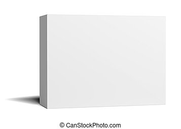 A white empty cardboard box stands half a turn. Isolated on...