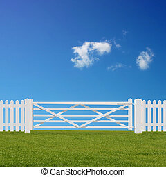 White Gate - A White Gate and Fence with Grass Field