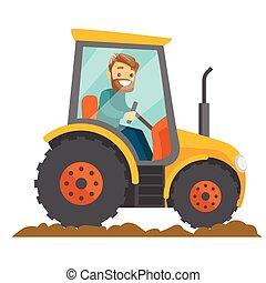 A white happy farmer in tractor on a rural farm field.