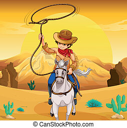 A white horse with a cowboy