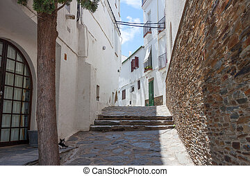 A white houses on street of Catalonia, Spain
