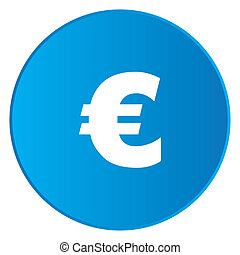 White Icon Isolated on a Blue Button - Euro Sign