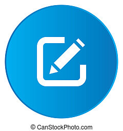 White Icon Isolated on a Blue Button - Pen