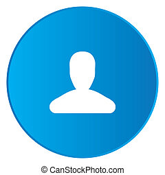 White Icon Isolated on a Blue Button - Person