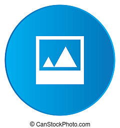 White Icon Isolated on a Blue Button - Picture