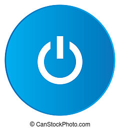 White Icon Isolated on a Blue Button - Power