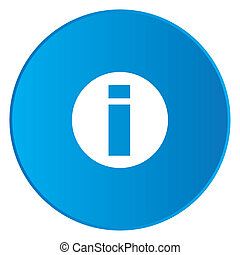 White Icon Isolated on a Blue Button - Round Info