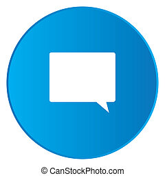White Icon Isolated on a Blue Button - Speech Bubble Square